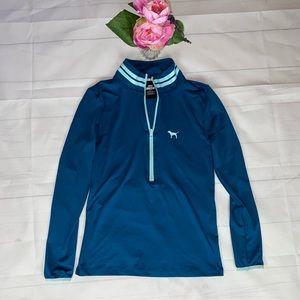 VS Pink Teal Aqua Half Zip Sweater M